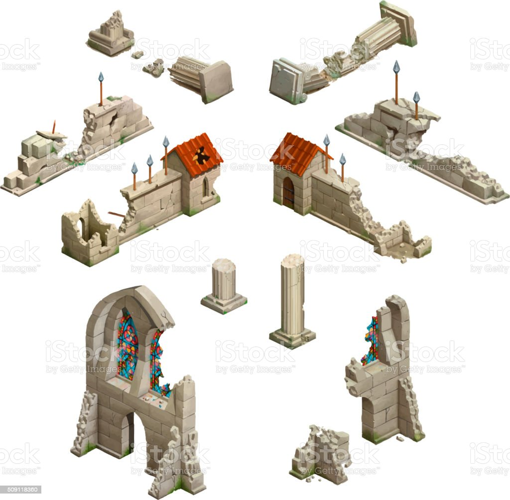 Big set of medieval buildings, isometric game art on white vector art illustration