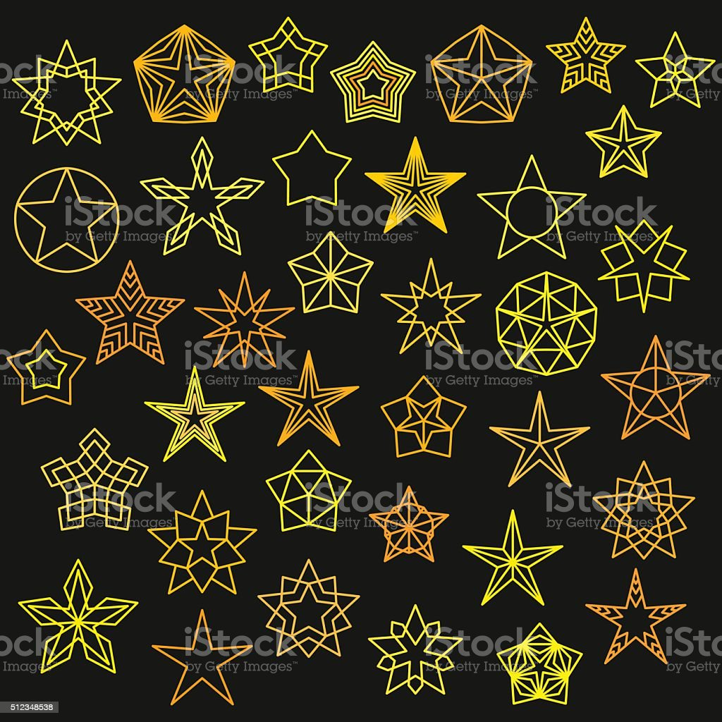 Big Set of Monoline Star Icons vector art illustration