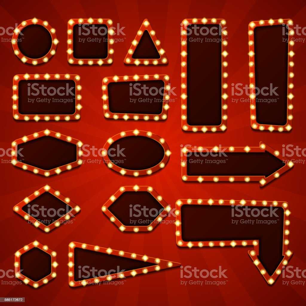Big set of retro banners with glowing lamps royalty-free stock vector art