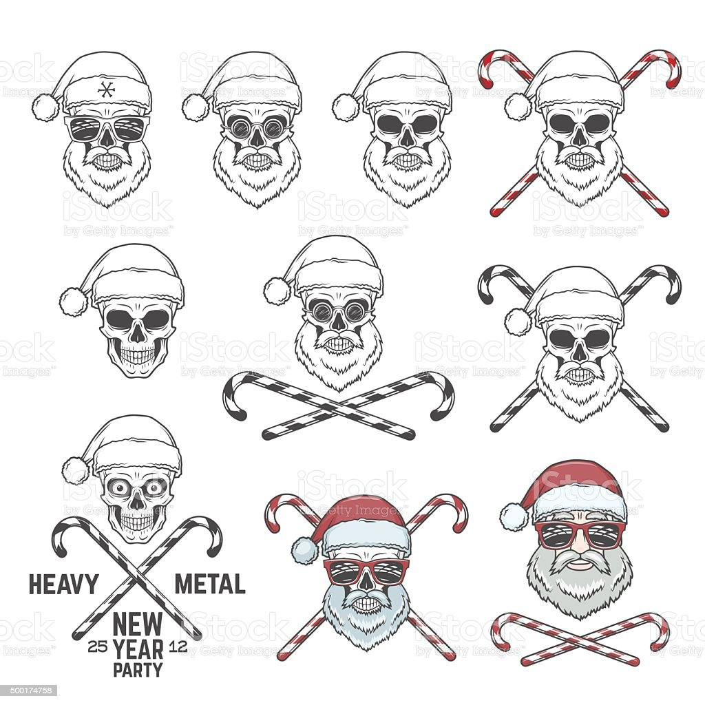 Big set of Santa Claus skulls with candy cones and vector art illustration