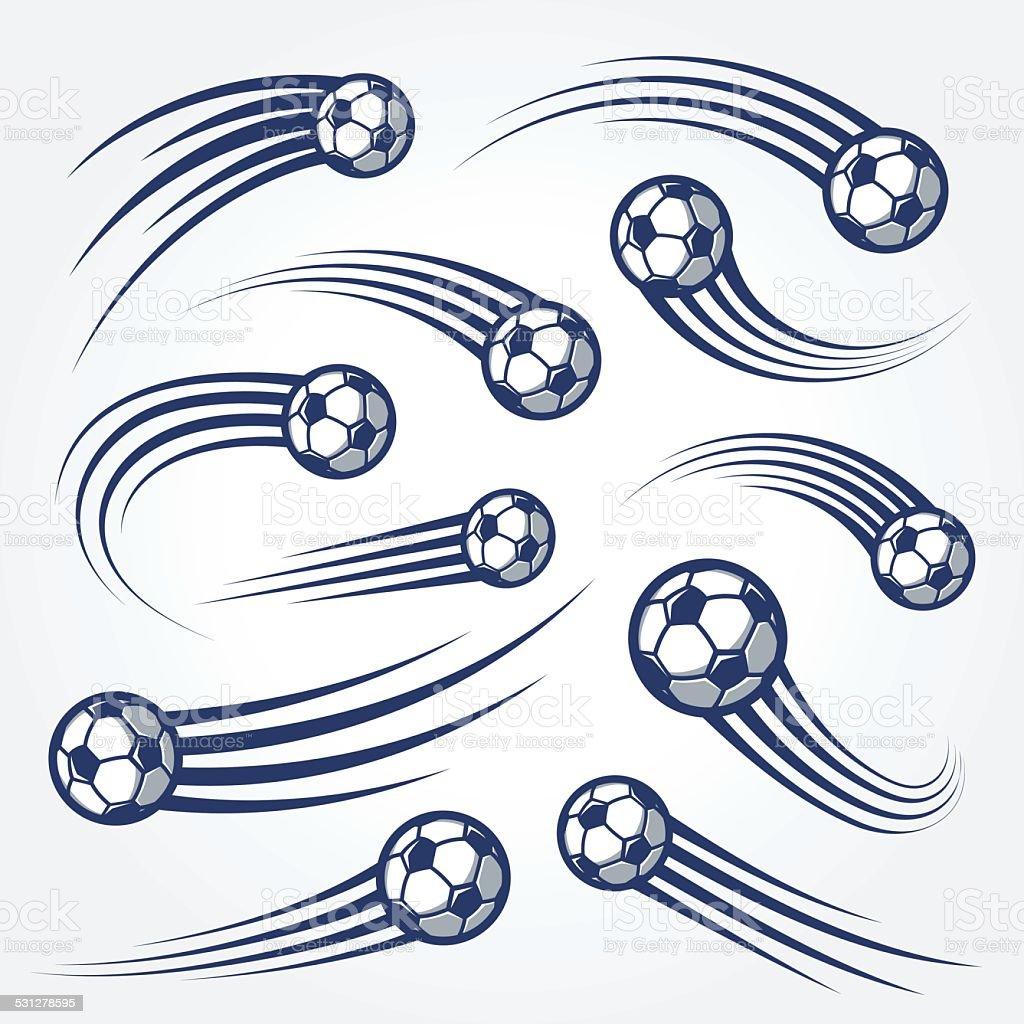 Big Set of soccer balls with curved motion trais illustrations vector art illustration