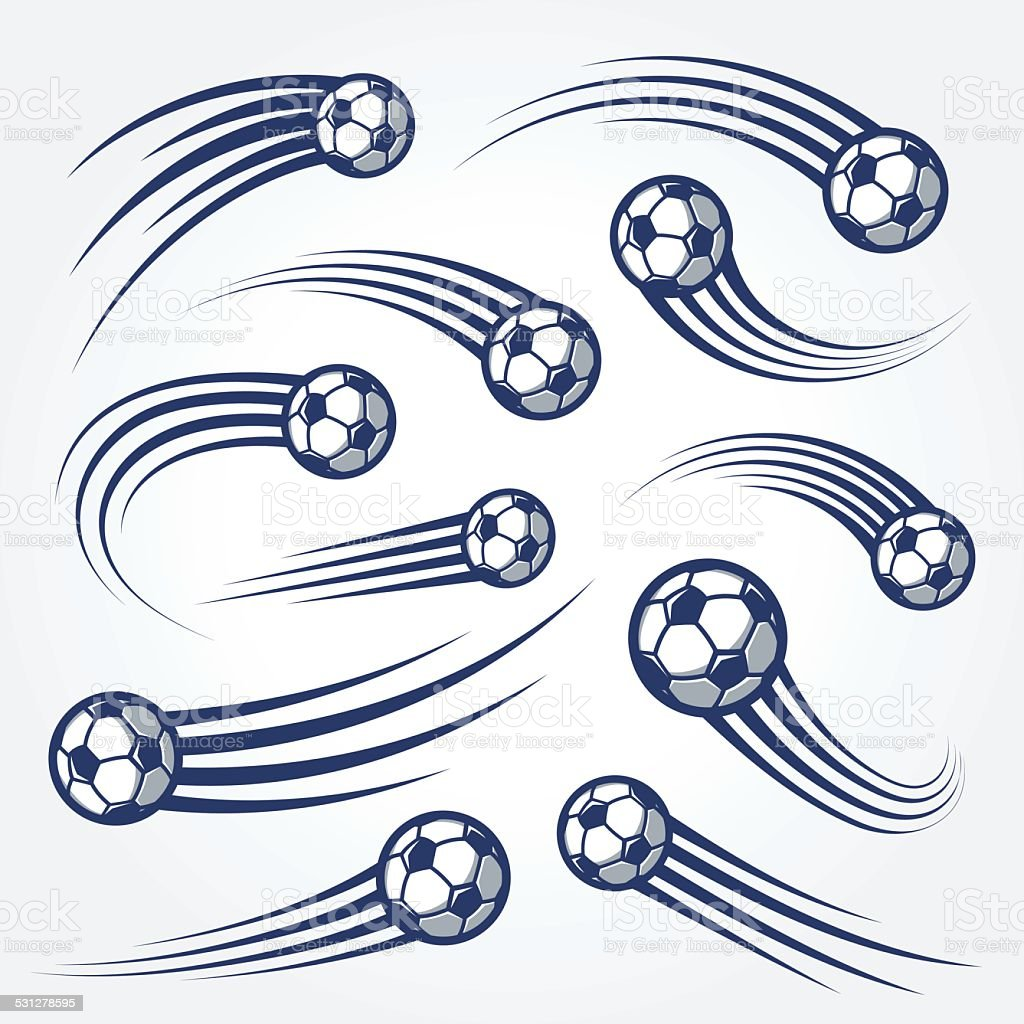 Big Set of soccer balls with curved motion trais illustrations vector art illustration