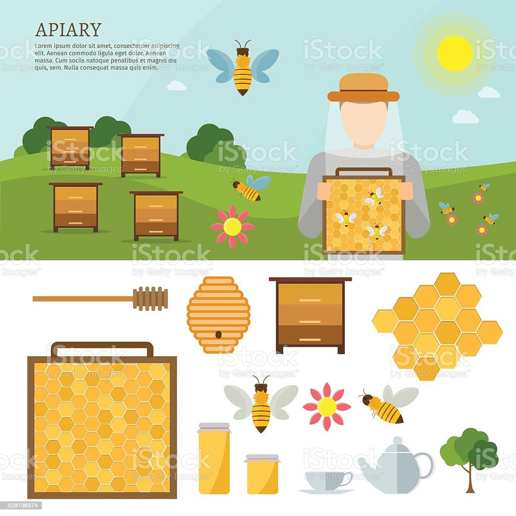 Big set of vector farm elements vector art illustration