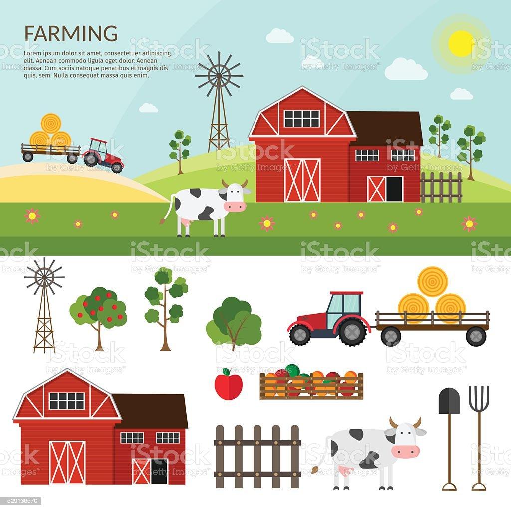 Big set of vector farm elements vector art illustration