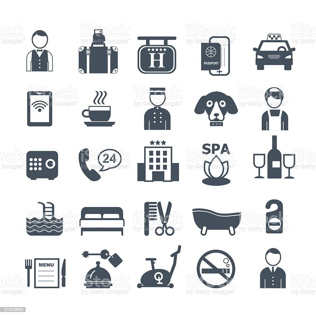 big set of vector icons for hotel service vector art illustration