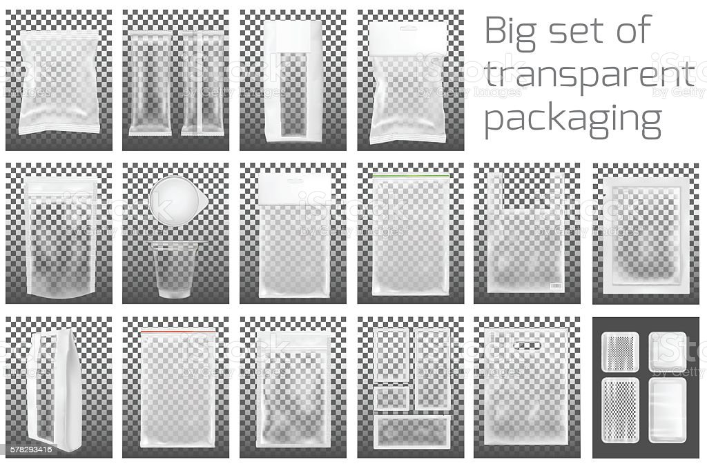 Big set. Transparent empty plastic packaging with zipper. vector art illustration