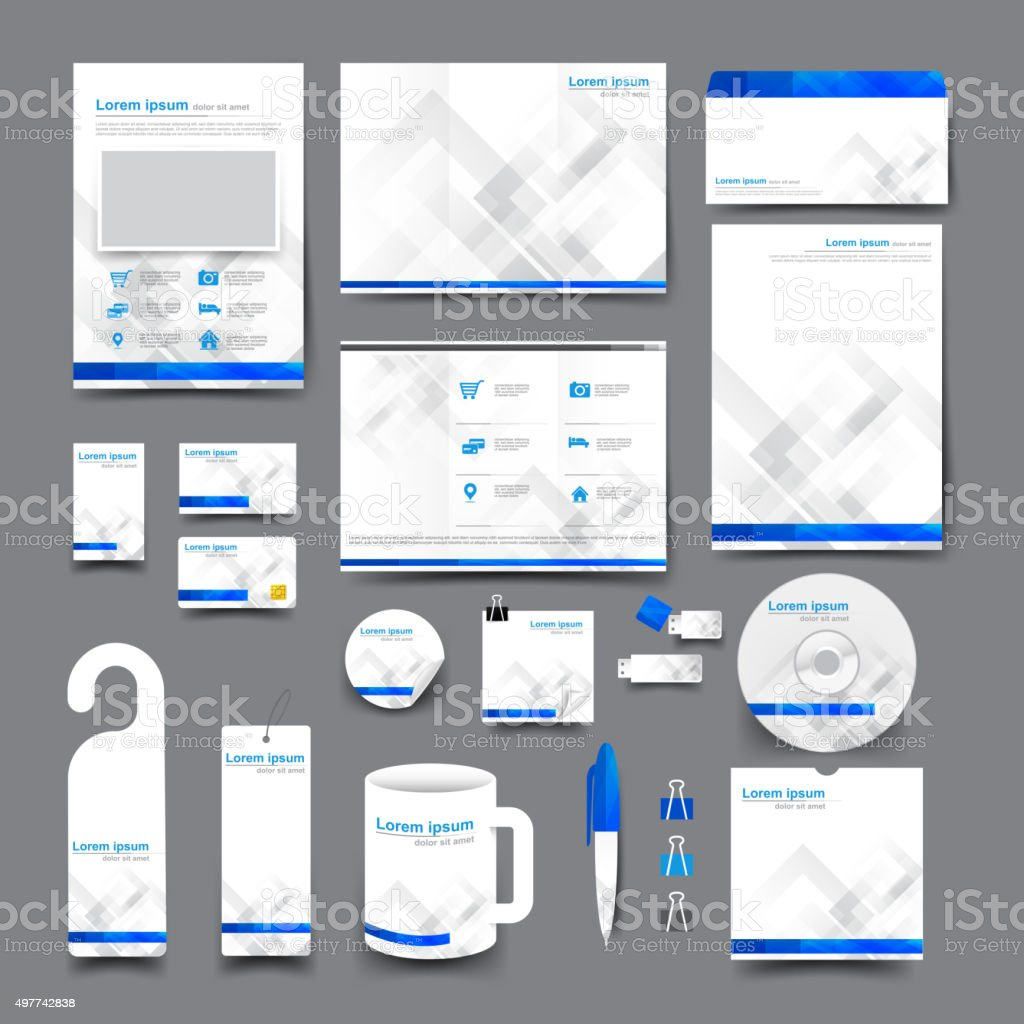 Big set trifold flyer brochure business card letter head envelop vector art illustration