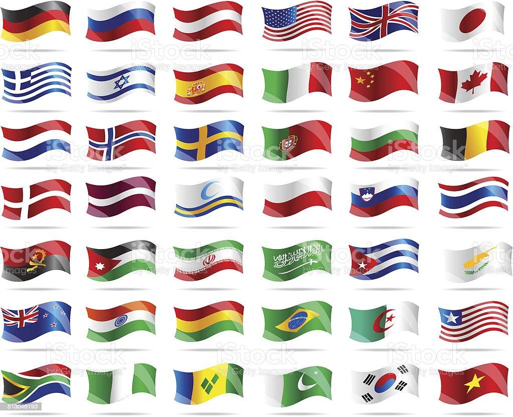 Big set wavy flags. vector art illustration