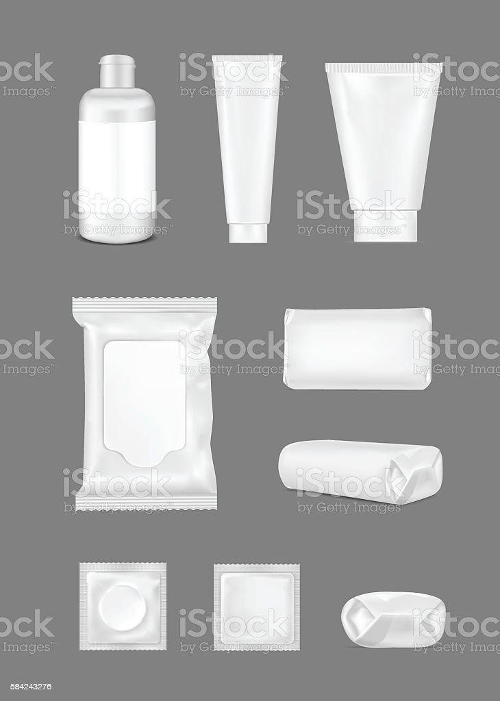 Big set. White empty plastic packaging for fashion, cosmetics. vector art illustration