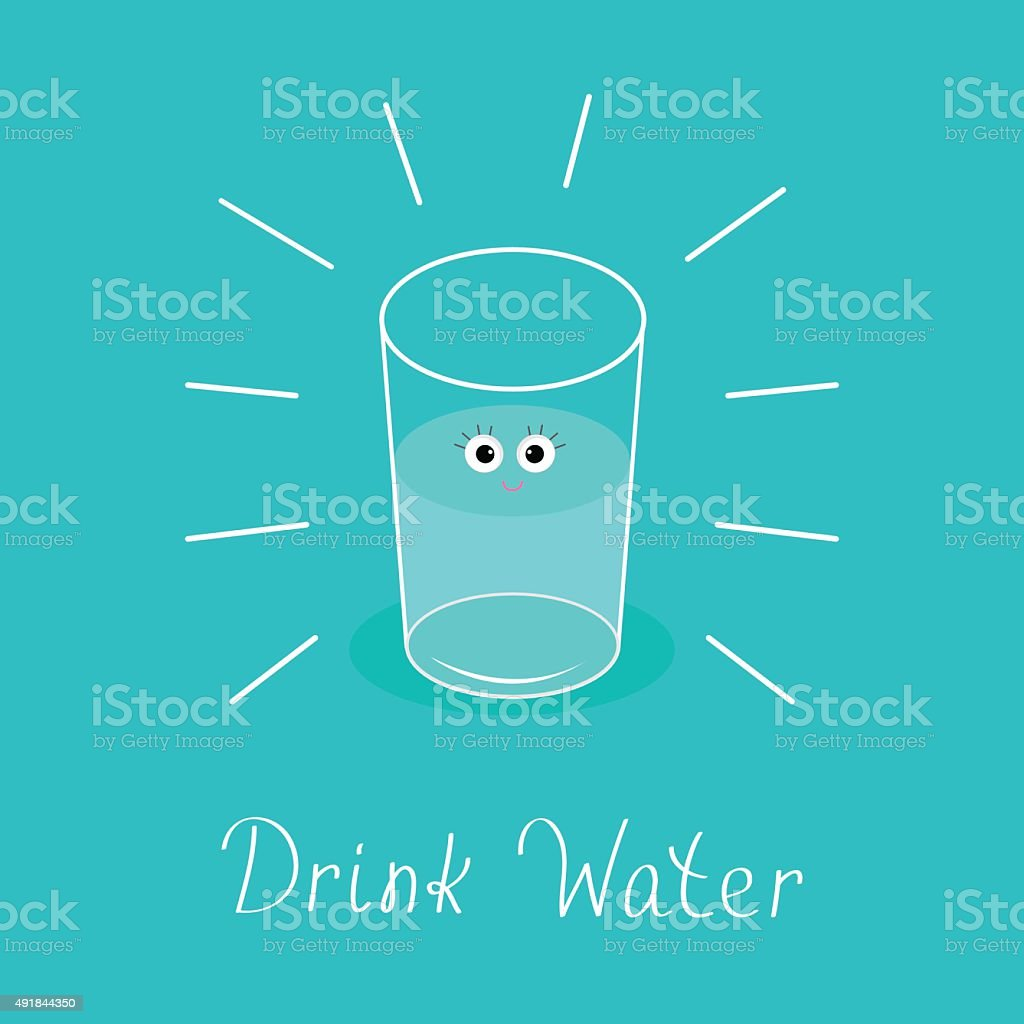 Big shining glass with eyes. Drink water Baby Infographic. Flat vector art illustration