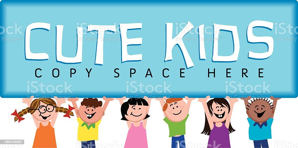 Big Sign with Cute Kids vector art illustration