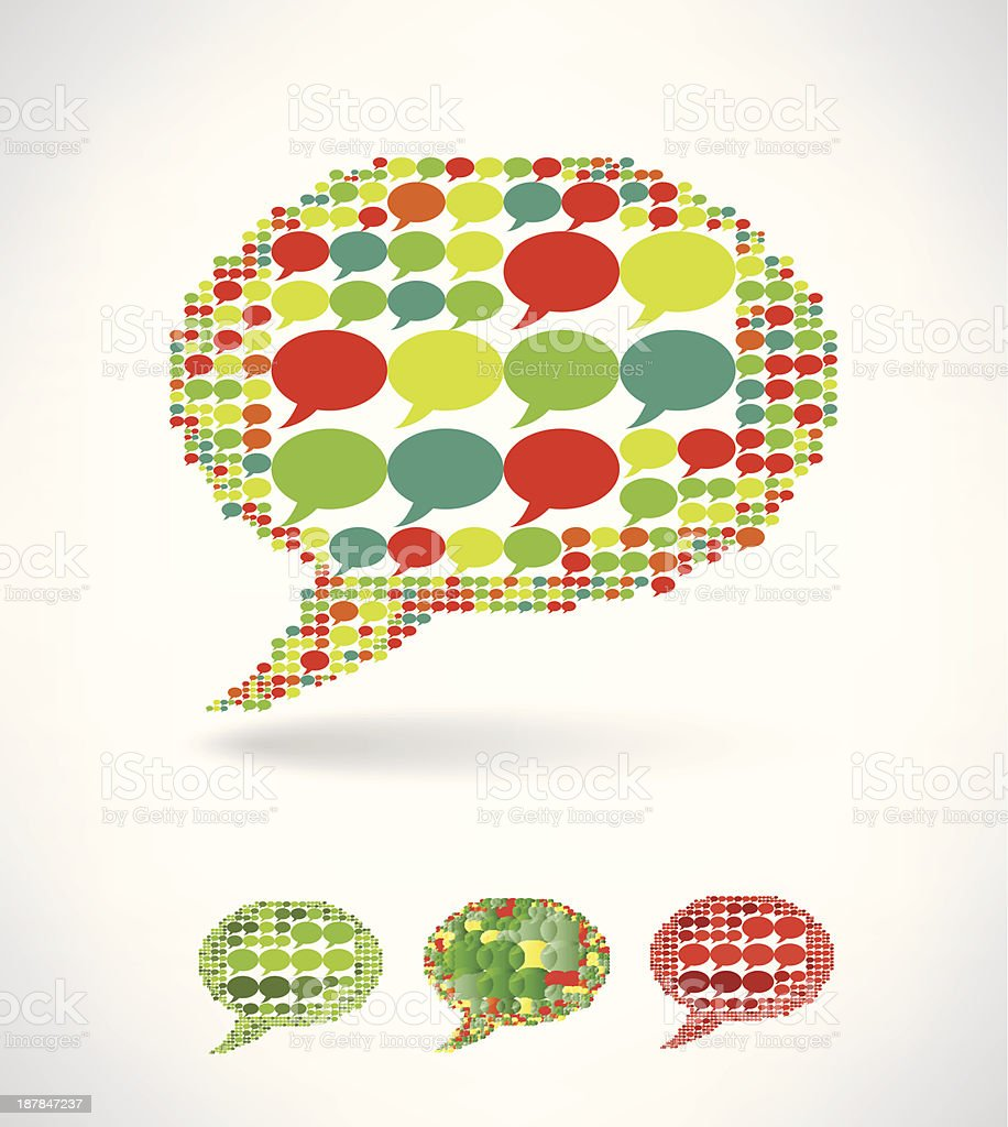 Big speech bubble made from small bubbles royalty-free stock vector art