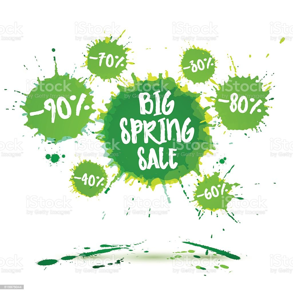 Big spring sale poster and spring sale banner. Vector watercolor vector art illustration
