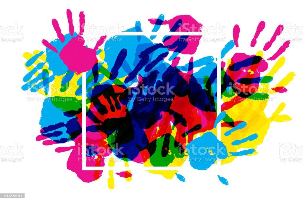 Big square frame made of colored handprints. vector art illustration