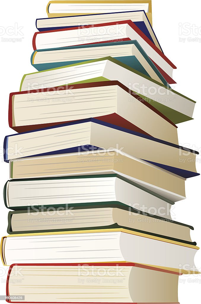 big stack of books, vector royalty-free stock vector art