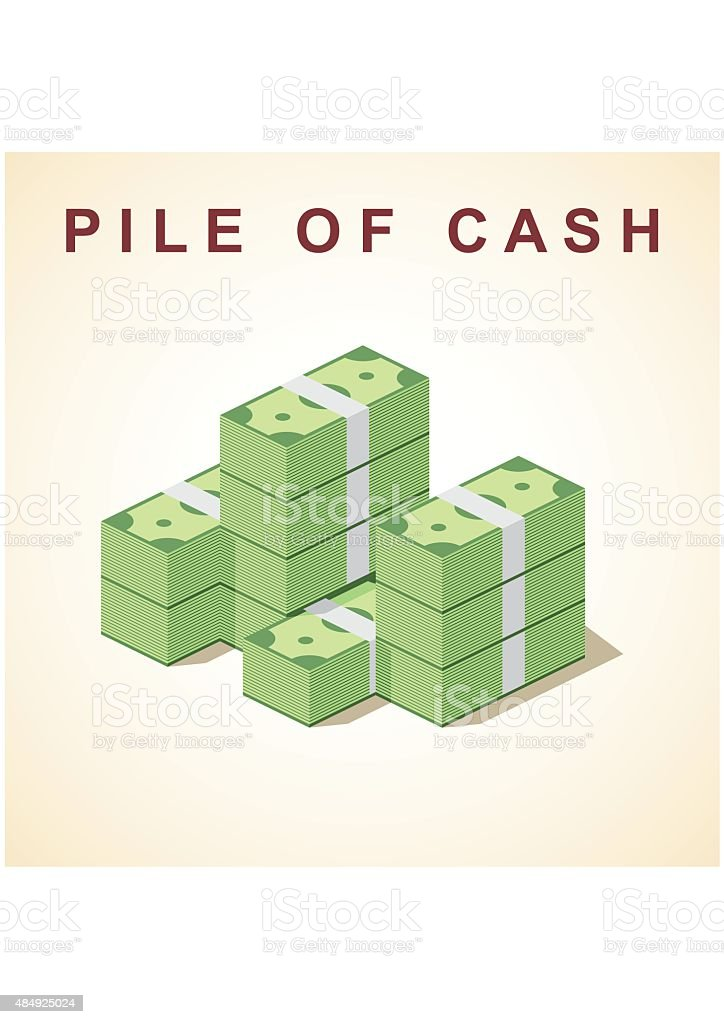 Big stacked pile of cash. Flat style vector art illustration