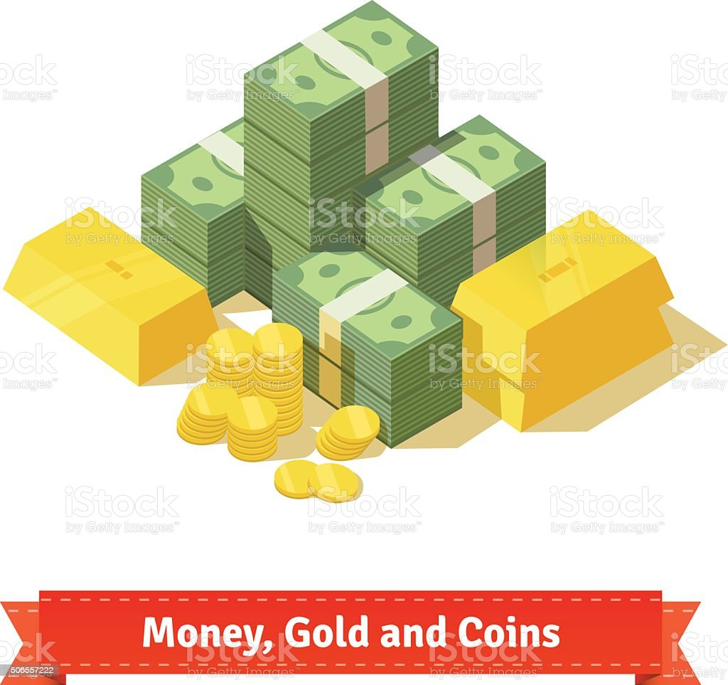 Big stacked pile of cash. Some gold bars and coins vector art illustration