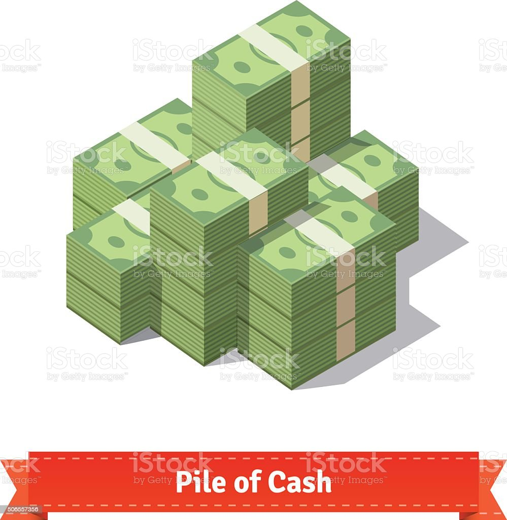 Big stacked pile of cash vector art illustration