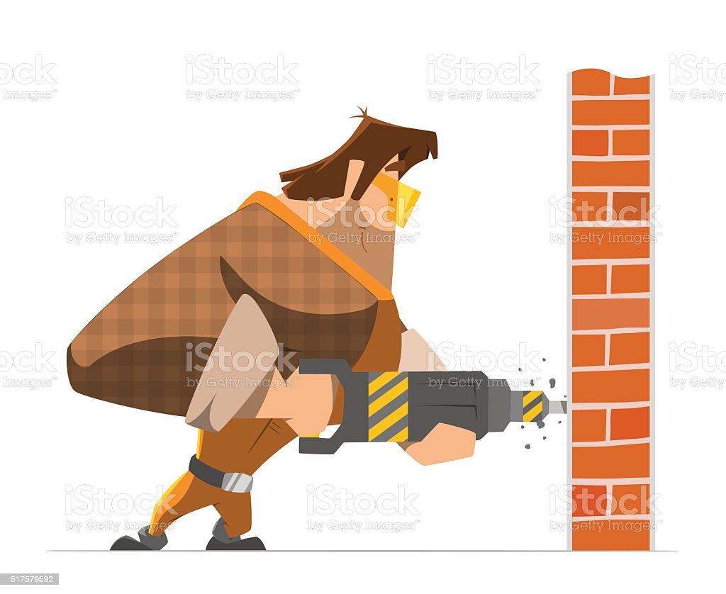 Big strong man worker drill a wall vector art illustration