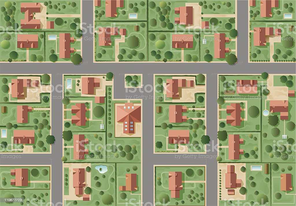 Big suburb vector art illustration