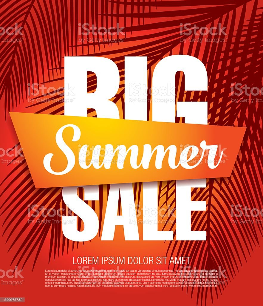 Big summer sale banner vector art illustration