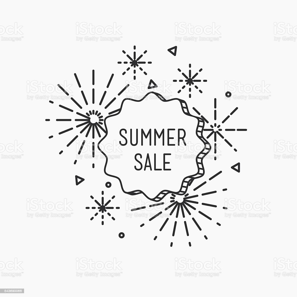 Big summer sale shining banner, colorful background in flat styl vector art illustration