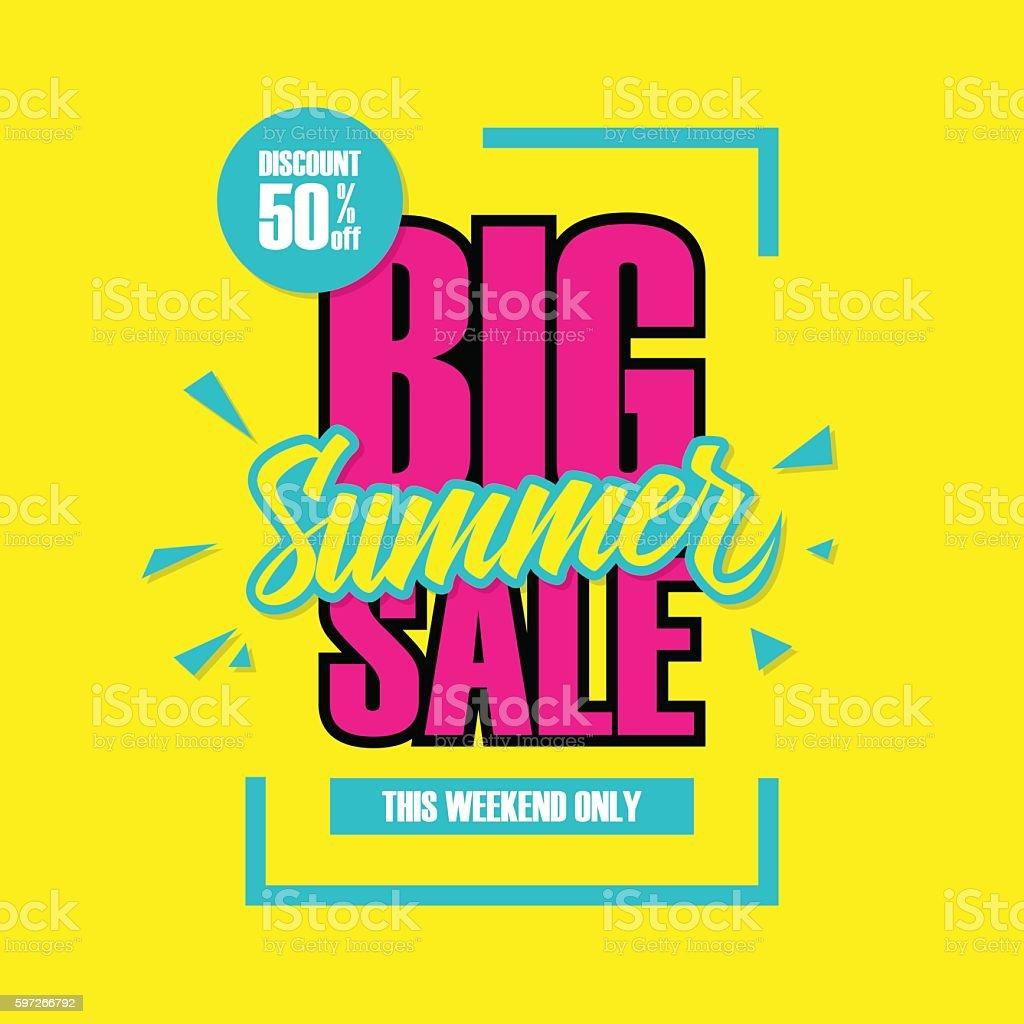 Big Summer Sale. This weekend special offer banner. vector art illustration