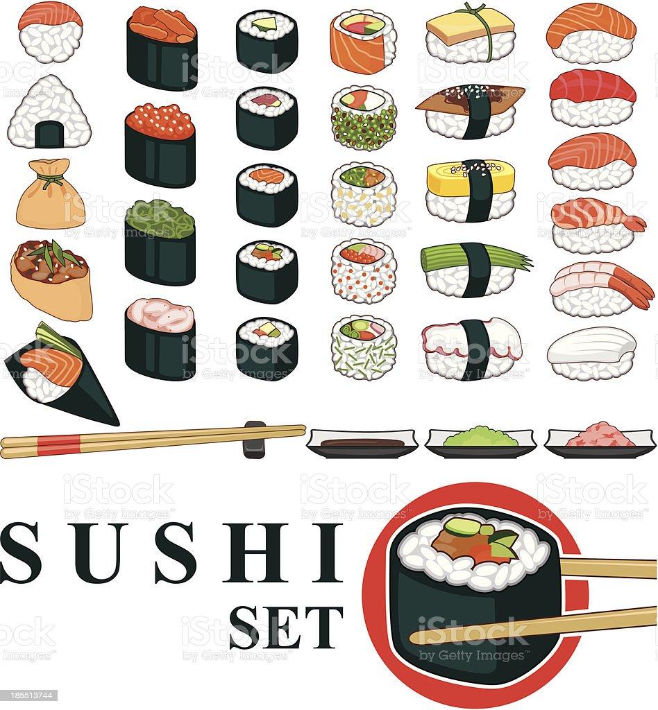 Big Sushi Set vector art illustration