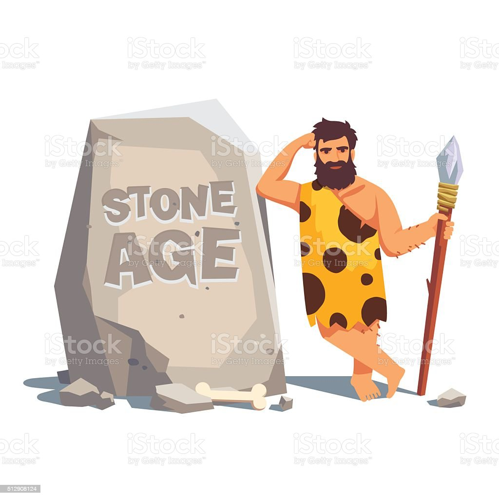 Big tablet rock with leaning caveman vector art illustration