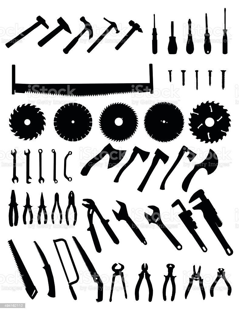 Big tools silhouette set vector art illustration