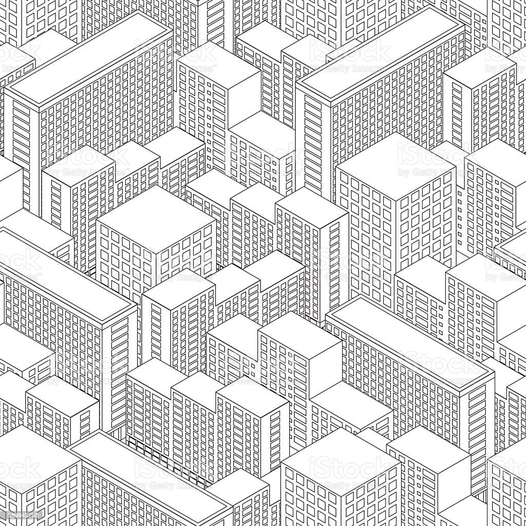 Big Town in isometric view. Seamless pattern with houses. vector art illustration