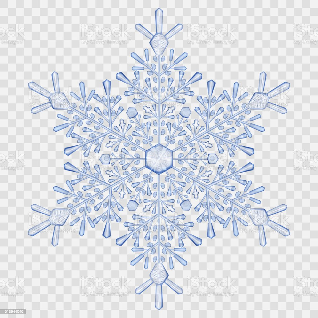 Big translucent crystal snowflake vector art illustration