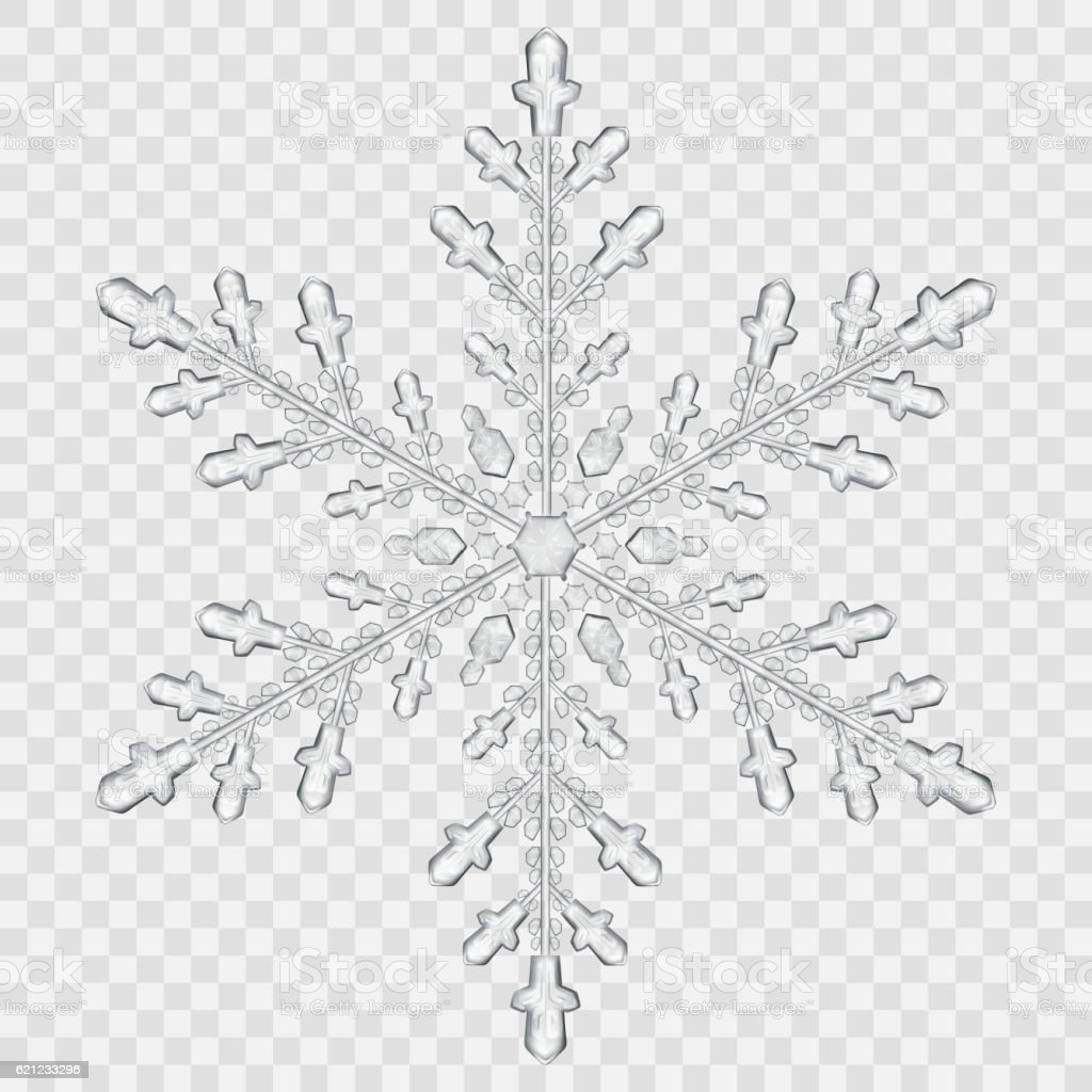 Big translucent crystal snowflake vector art illustration