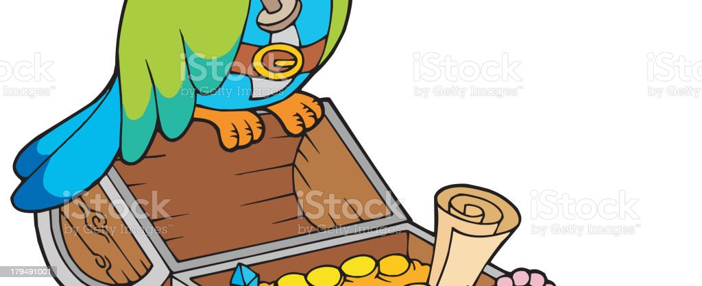Big treasure chest with pirate parrot royalty-free stock vector art