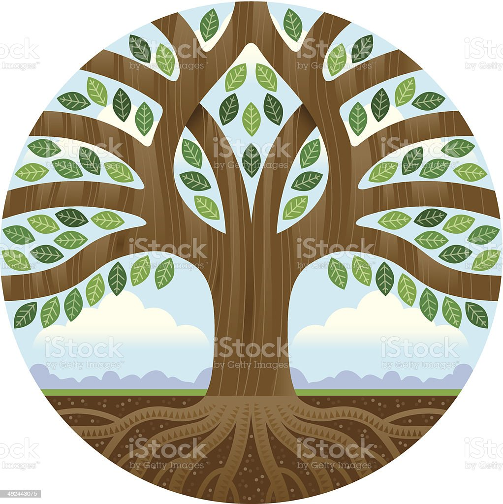 Big tree in a circle royalty-free stock vector art