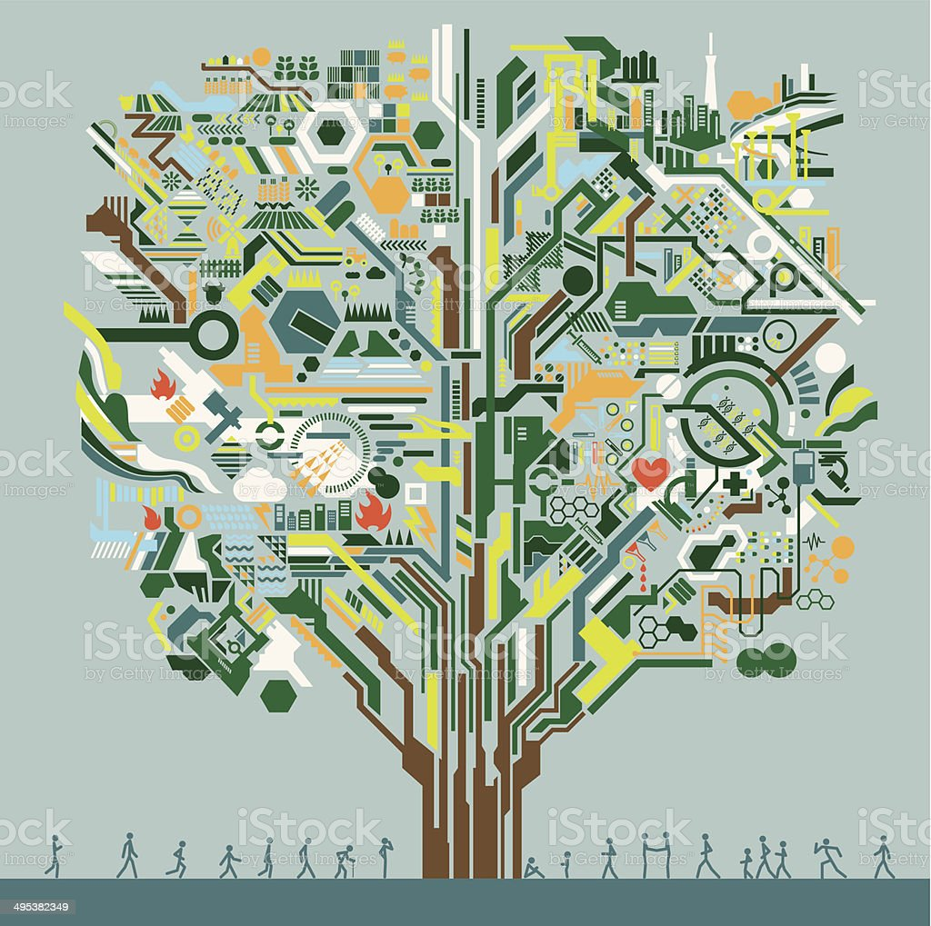 Big tree network vector art illustration