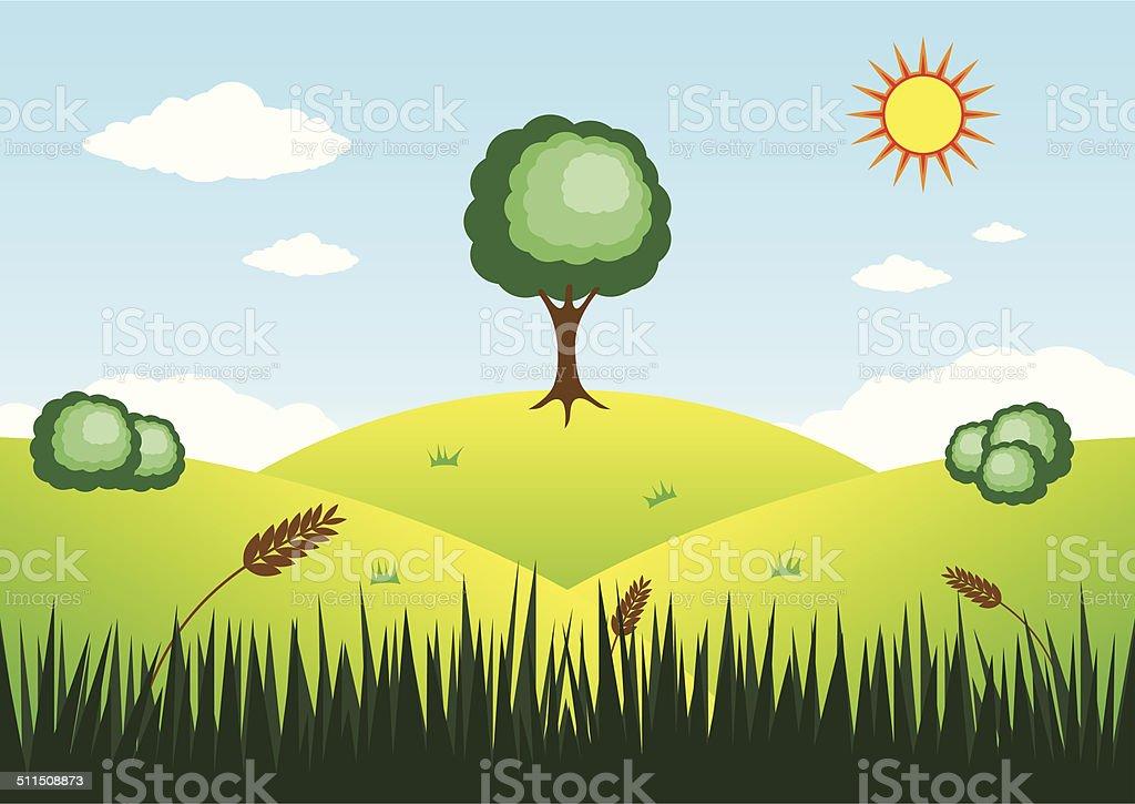 Grand arbre sur le sommet de la montagne stock vecteur libres de droits libre de droits