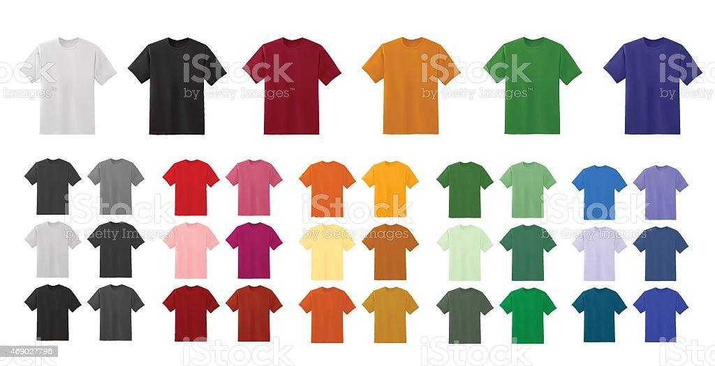 Big t-shirt templates collection of different colors vector art illustration
