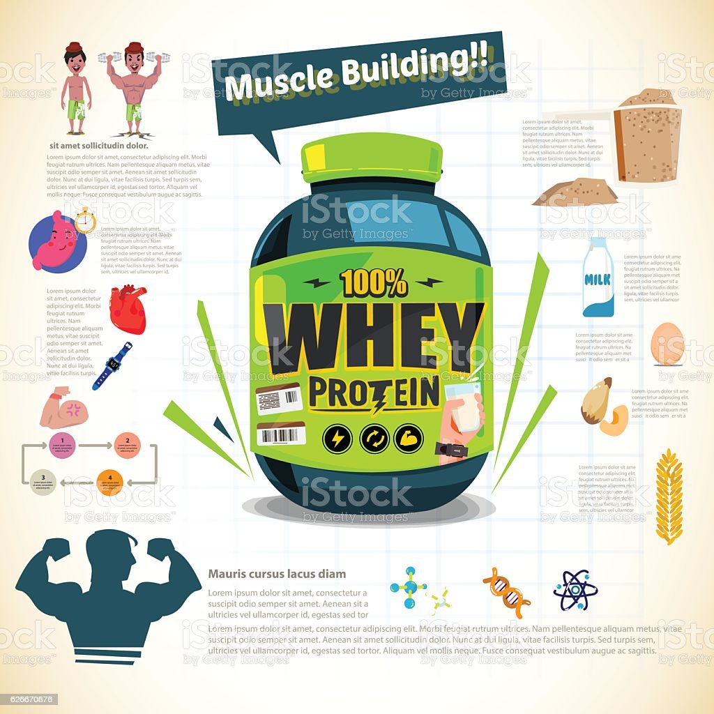 big tub of whey protein for body building vector art illustration
