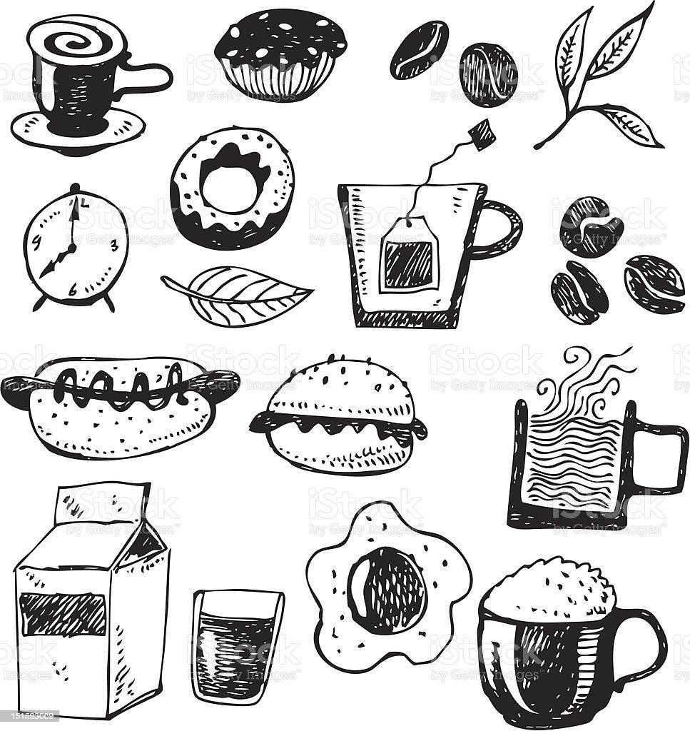 big vector set - breakfast royalty-free stock vector art