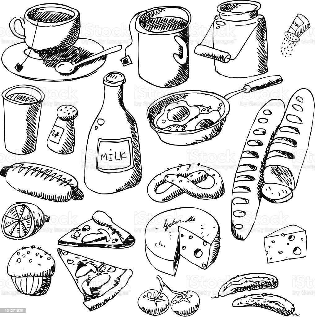 big vector set : kitchen - food royalty-free stock vector art