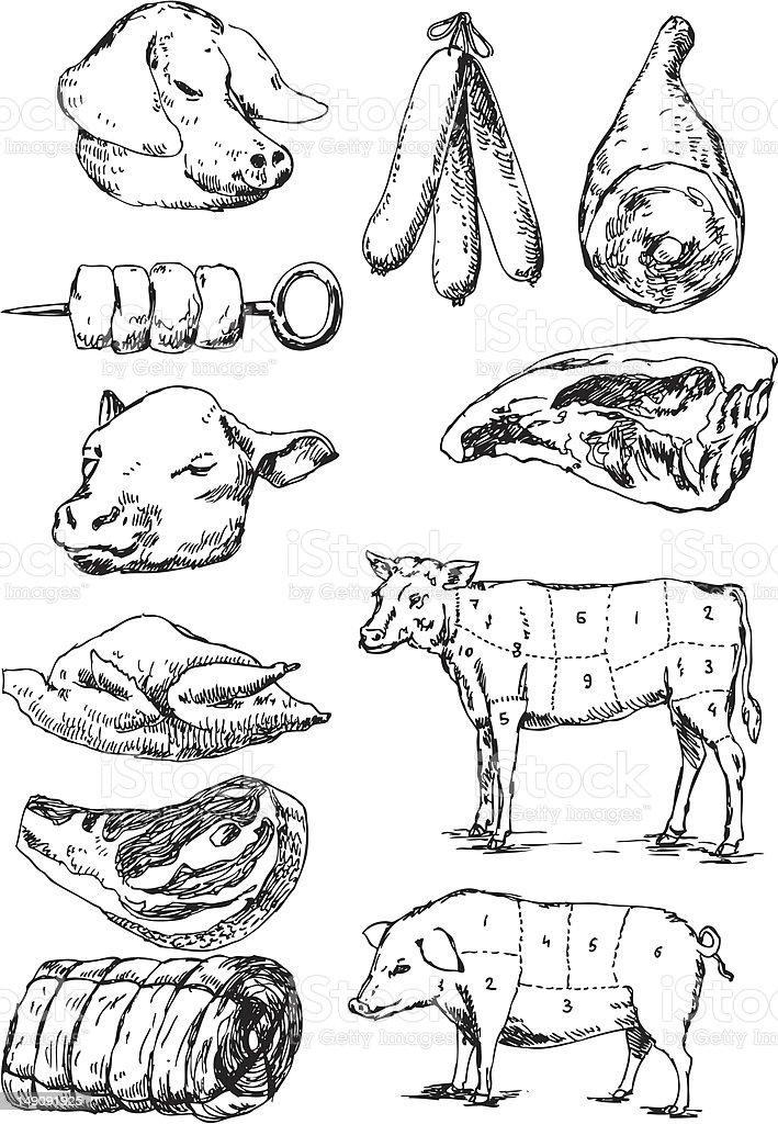 big vector set - meat royalty-free stock vector art