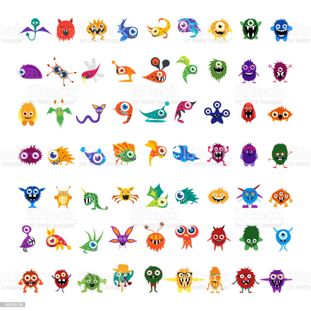 Big vector set of drawings custom characters isolated colorful monsters vector art illustration