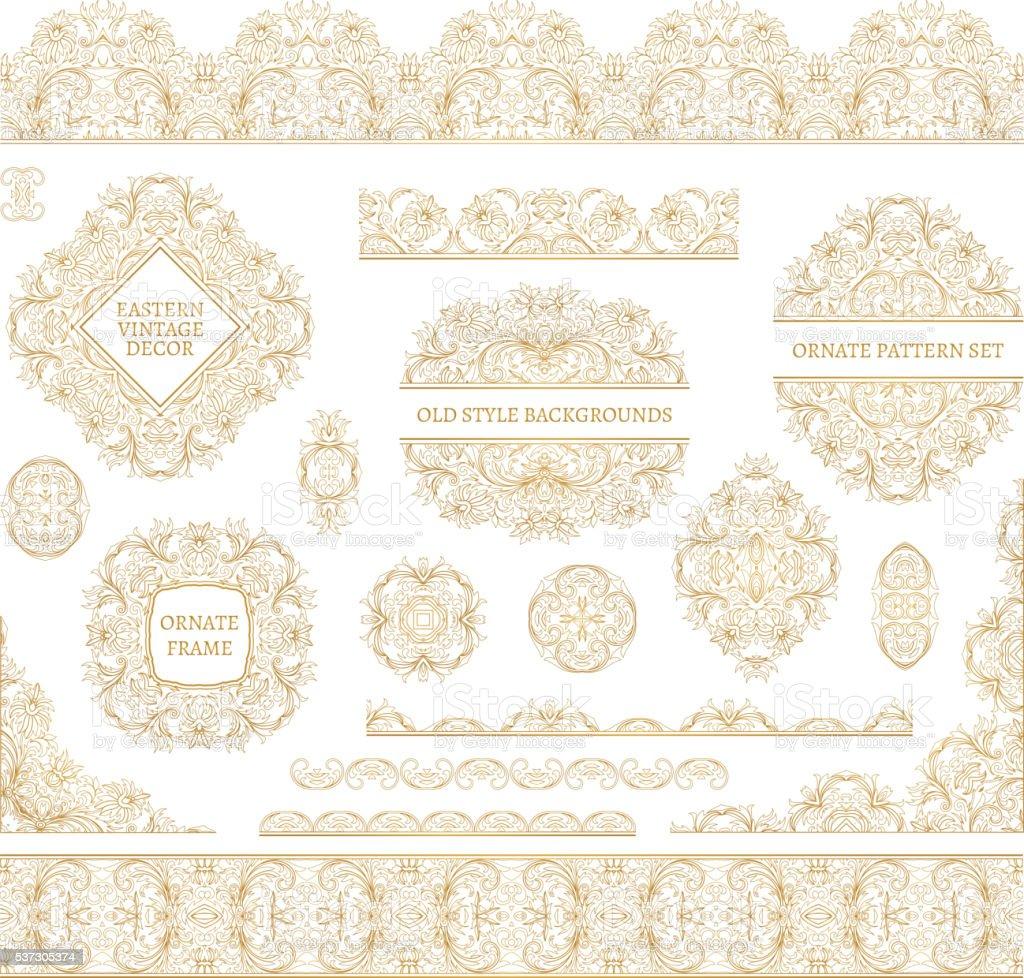 Big vector set of ornate art frames, vignettes and border vector art illustration