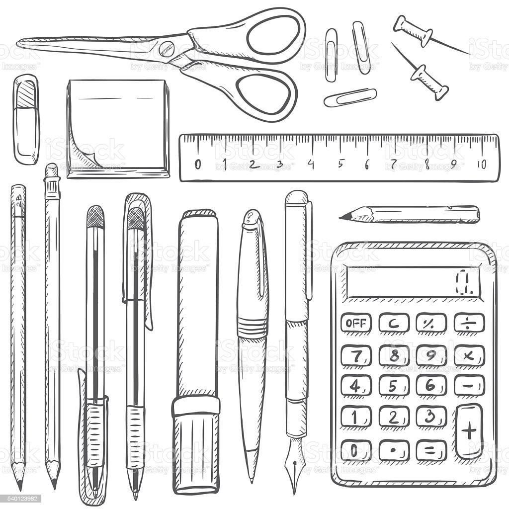 Big Vector Set of Sketch Stationery Items. vector art illustration