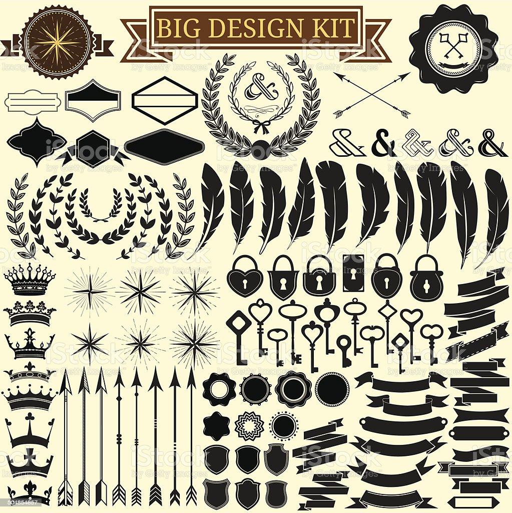 Big vintage design kit. Vector icons for retro design. vector art illustration