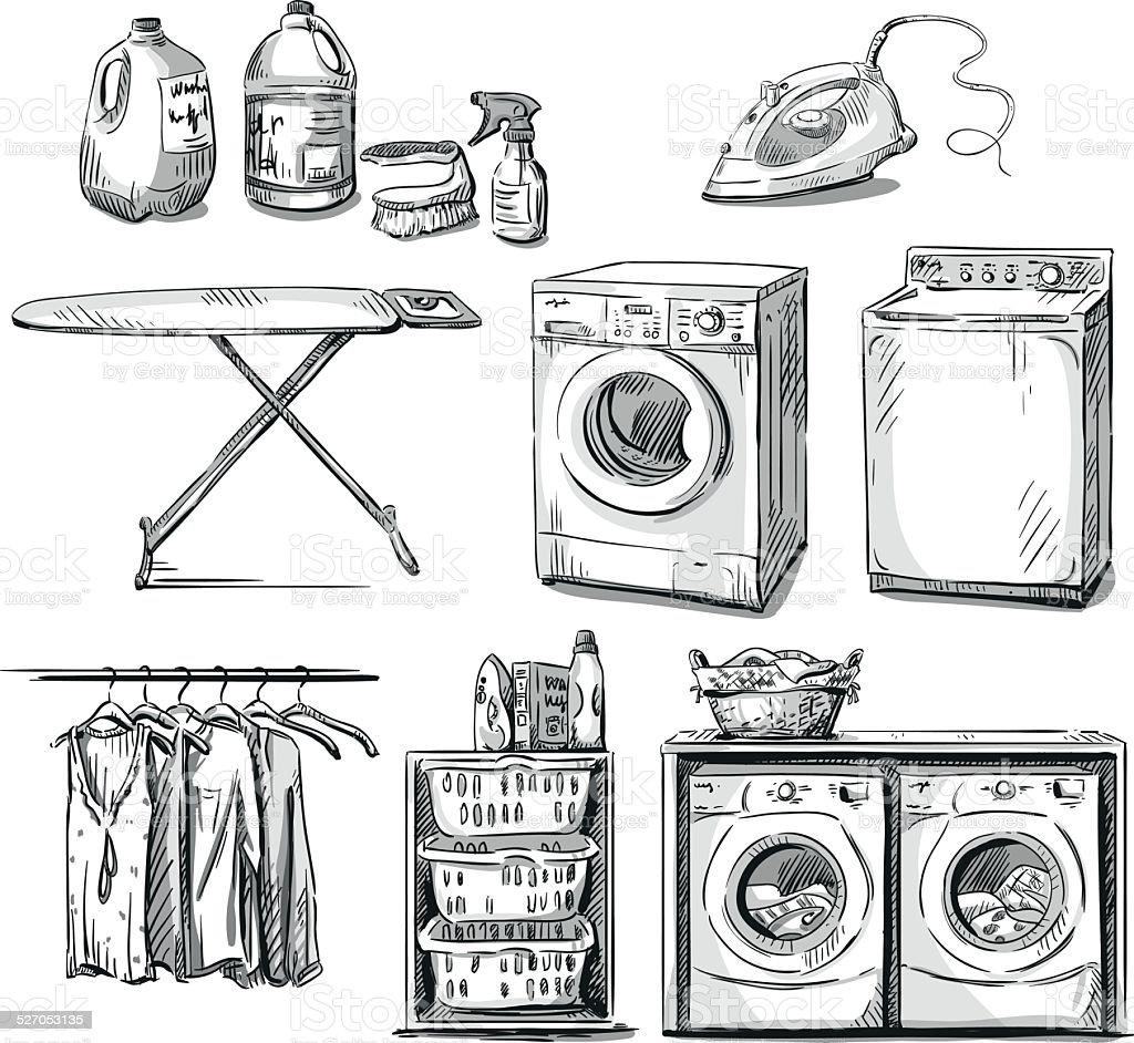 big wash. Laundry objects. Vector sketch. vector art illustration