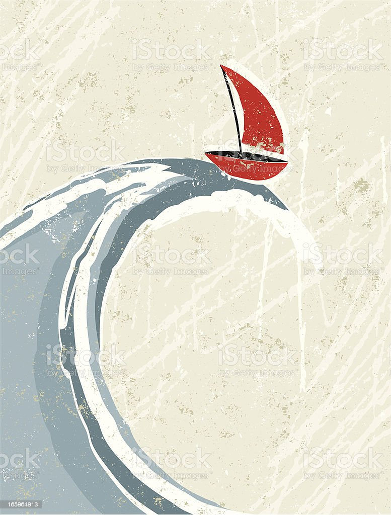 Big Wave and Little Sail Boat vector art illustration