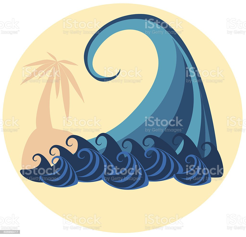 big wave and palm tree vector art illustration