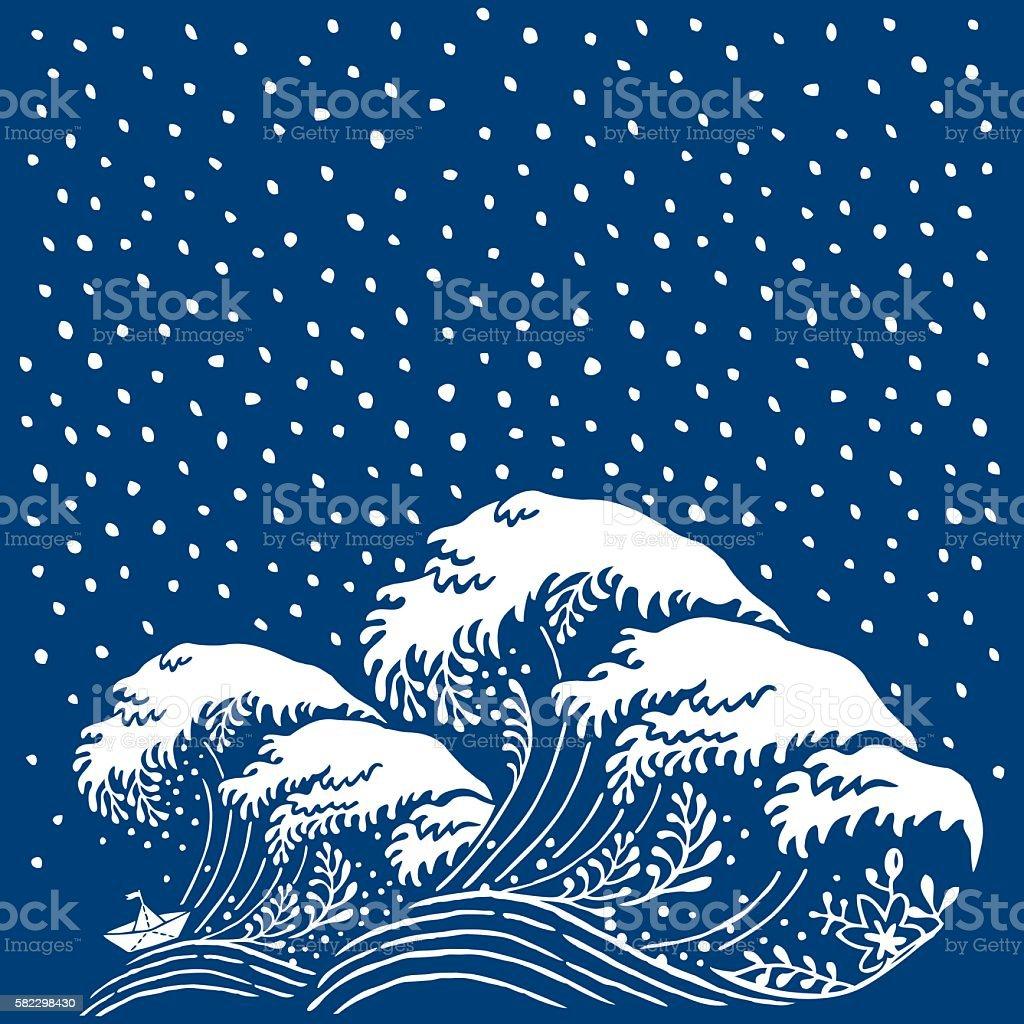Big Wave Paper Boat Japanese Style vector art illustration